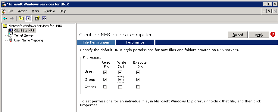 Connecting to a share on Linux via Windows 2003 (SP1) NFS