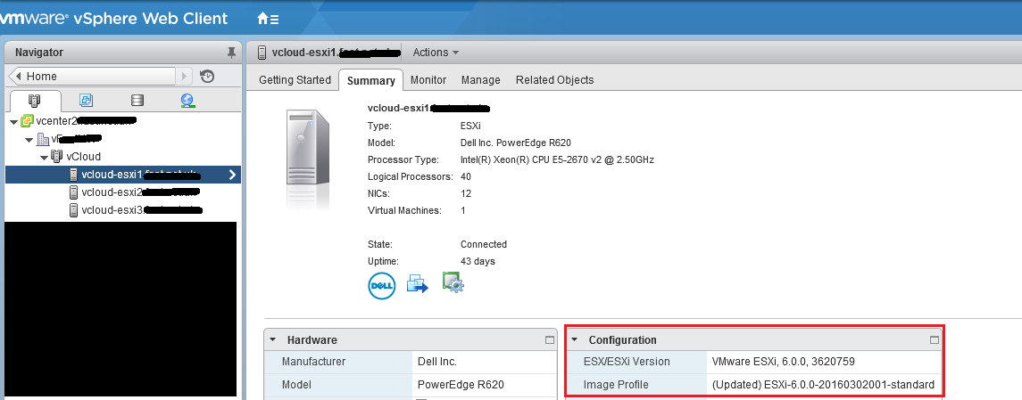 Determining Build Number and Version for ESXi via vSphere